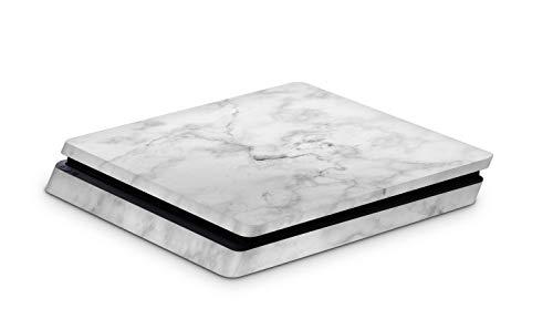 Skins4u Aufkleber Design Schutzfolie Vinyl Skin kompatibel mit Sony PS4 Playstation 4 Slim Marmor Weiss