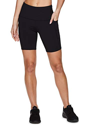 RBX Active Women's 7 Solid Ultra Hold High Waist Squat Proof Yoga Bike Short with Pockets Black 7-Inch S