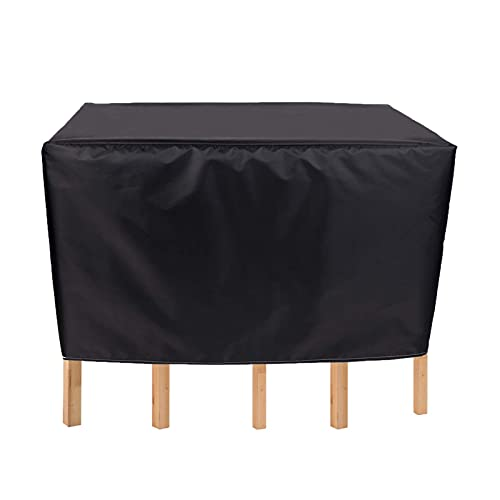 WZDD 180x150x80cm Rectangular Patio Table Cover, Patio Furniture Cover Sets Waterproof, 420D Outdoor Table and Chair Set Cover, Windproof, Anti-UV, Black Furniture Covers Outdoor