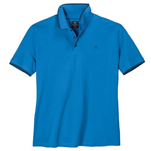 Kitaro XXL Stretch-Poloshirt azurblau Kontrastdetails, Größe:6XL
