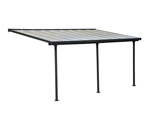 Palram Pergola Patio Cover Feria 3X5.46 m with Robust Structure for Year-Round Use - Grey