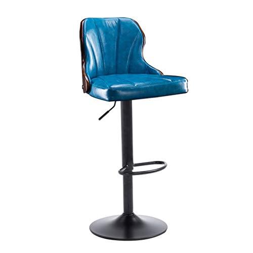 Chaise de Petit Déjeuner Hautes 360 ° Cuisine pivotante Petit-déjeuner Bar Tabouret Pub Chaise de bureau Comptoir Hauteur Réglable (60~80cm) Siège Bleu Luxe Charge Max 130 kg