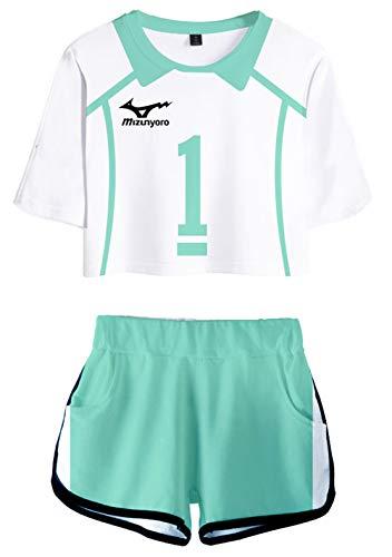 PandaOne Damen Haikyuu!! 3D Druck Streetwear Volleyball Sport Mädchen Chakater T-Shirt und Shorts Zwei Stücke Sportanzug(b,M)