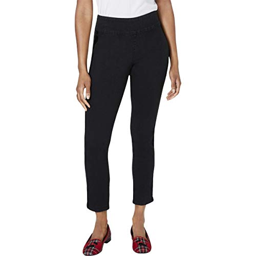 Charter Club Womens Cambridge Mid-Rise Pull On Ankle Jeans Black 8