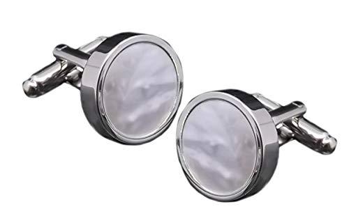 Cufflinks Direct Silber Perlmutt Muschel Mann Hochzeitsgeschenk Manschettenknöpfe (Manschettenknöpfe mit gravierter Geschenkbox)