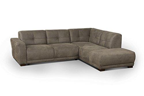 Cavadore Ecksofa 'Modeo' / Sofa-Ecke mit Federkern und modernen Kontrastnähten / Hochwertiger Mikrofaser-Bezug in Wildlederoptik / Holzfüße / Maße:...