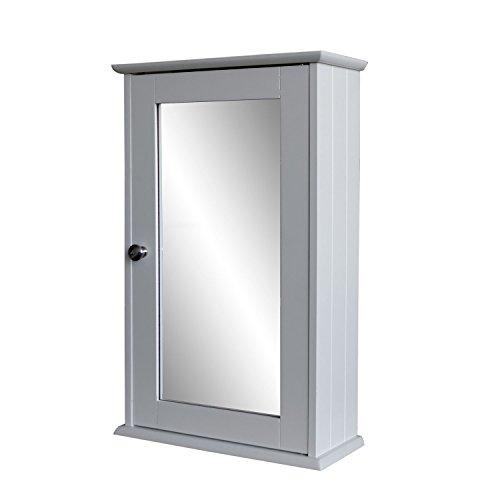 Multistore 2002 - Armadietto con specchio, 53 x 34 x 15 cm, per bagno e corridoio, in legno a fibre pressate di media densità (MDF), colore: bianco