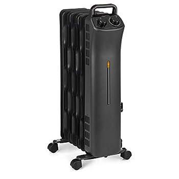 Amazon Basics Portable Radiator Heater with 7 Wavy Fins Manual Control Black 1500W