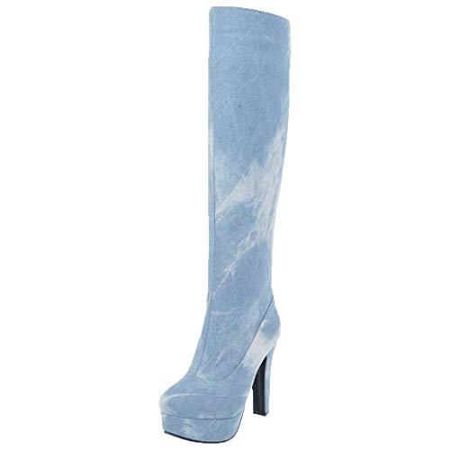 MISSUIT Damen Denim Plateau Stiefel High Heels Kniehoch Jeans Boots Kniehohe Stiefel mit Blockabsatz und Reißverschluss Schuhe(Hellblau,41)