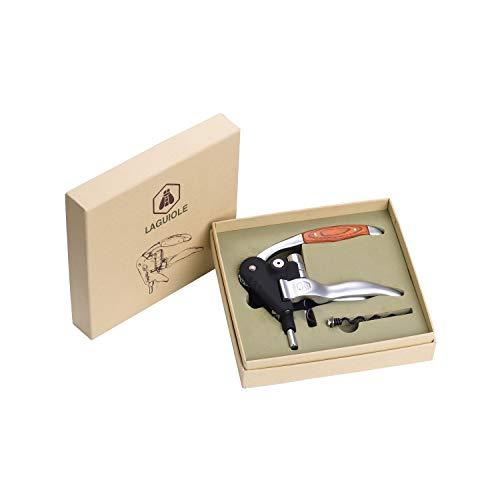 LAGUIOLE - Sacacorchos con Palanca - Aluminio y Madera - Con espiral de repuesto - Caja de regalo - metal, aluminio, madera - Negro, marrón, marrón