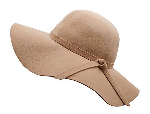 Bienvenu Women's Wide Brim Taupe Solid Color Wool Floppy Hat Camel