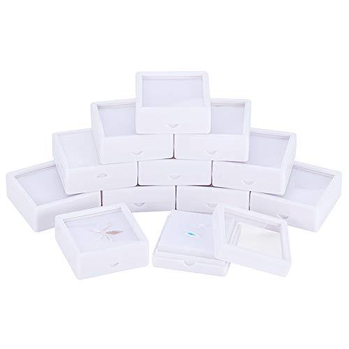 BENECREAT 12PCS White Gemstone Display Box 5x5x2cm Schmuckschatulle Behälter mit durchsichtigen Deckeln für Edelsteine, Münzen, Schmuckverpackungen