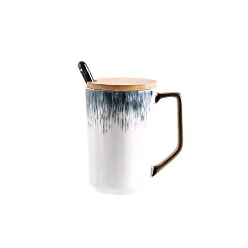 ZJN-JN CUP Taza de cerámica creativa, con tapa y cuchara taza, gradiente masculina azul de la oficina y hembra taza de té, café, leche, personalidad desayuno taza de avena, taza grande de la capacidad