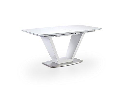 lifestyle4living Esstisch, Küchentisch, Esszimmertisch, Säulentisch, rechteckig, ausziehbar, Synchronauszug, weiß, reinweiß, Hochglanz, Glanz, Sicherheitsglas, Glas