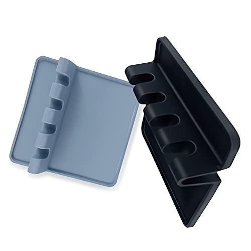 Silicone Utensil Rest 2 pack with Drip Pad, Premium Multiple Utensils Rest, BPA-Free Spoon Rest, Stove Top BBQ Utensil Holder, Heat-Resistant Kitchen Utensil Holder