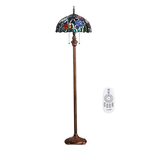 ACHNC 16 Zoll Tiffany Stil Stehlampe Dimmbar, Wohnzimmerlampe LED Stehleuchte Retro Mit Glasmalerei Art Deco Standleuchte Für Wohnzimmer Schlafzimmer Café, 2-Flammig E27