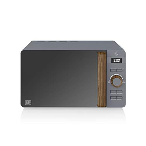 Swan Nordic - Microonde digitale, 20 l, 6 livelli di funzionamento, 800 W, timer 30 min, facile da pulire, modalità scongelamento, design moderno, maniglia effetto legno, grigio opaco