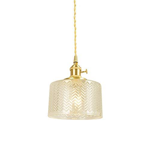 Wj Moderna lámpara Colgante E27 de Cristal Transparente lámpara de Techo de latón Regulable en Altura con portalámparas Pulido para Cocina Bar cafetería Comedor Ø17cm * H12cm