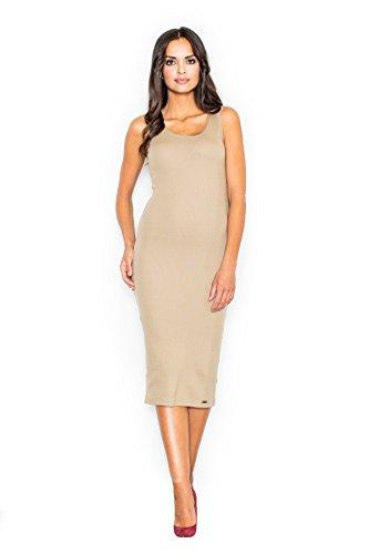 Figl Elegantes Kleid mit breiten Trägern, Größe 36/38, Beige