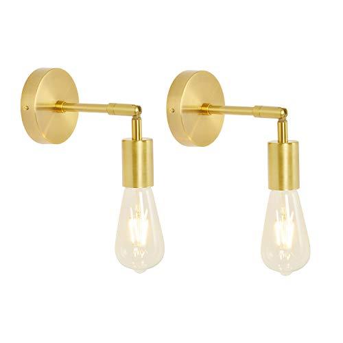 BAODEN 2 Stück Messing Badezimmer Wandleuchten Wandlampe E27 Retro Vintage Industrie Loft Wandleuchte Pole Wandbeleuchtung Leuchte (Gold Farbe)[Energieklasse A++]
