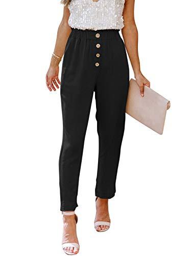 NIMIN Women's Casual Loose Elastic High Waist Pants Soft Solid Chic Work Pants Paper Bag Pants with Pockets Black Medium