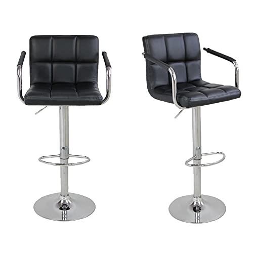 Sillas Altas Taburetes de barra clásica Conjunto de 2 sillas de bar negro Taburetes de altura de contador negro Taburete de bar ajustable con silla de barra trasera Silla giratoria de 360 grados Top