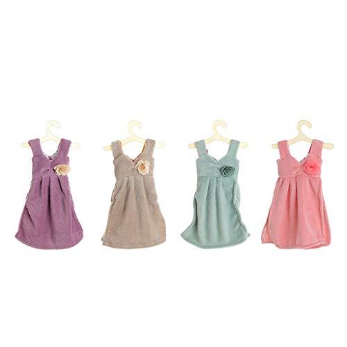 HYY-YY Leuke jurk Handdoek, Dikke Coral Fleece Towel Keuken Opknoping absorberende handdoek 4 stuk