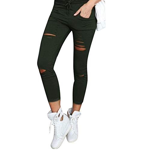 MORCHAN ❤ Femmes Skinny Ripped Pantalon Taille Haute Stretch Pantalons Slim Crayon