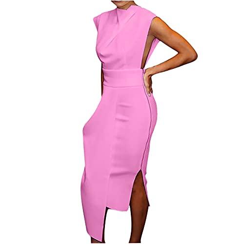 Women Printing Cross Dress Bodycon Off Shoulder Sleeveless Evening Party Dress Sundress (XL, Pink)