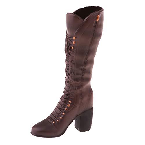 FLAMEER 1/6 Hoge Hakken Laarzen Schoenen voor 12  Actiefiguren, Dames - Bruine kniehoge laars