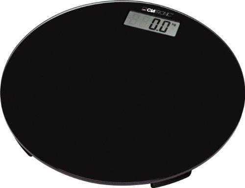 Clatronic PW 3369, elektronische Personenwaage mit gut lesbarem LCD-Display, Glas-Oberfläche, 100 g-Schritte, Anti-Rutsch-Füße, Schwarz