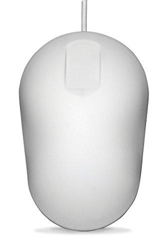 PUREKEYS desinfizierbare Hygienemaus, USB-Kabel - Farbe:Weiss | abwischbar, desinfizierbar | kompatibel zu Win 8-10, Mac OS, Linux | für gängige Desinfektionsmittel geeignet (Alkohol, Ammoniak, H2O2)