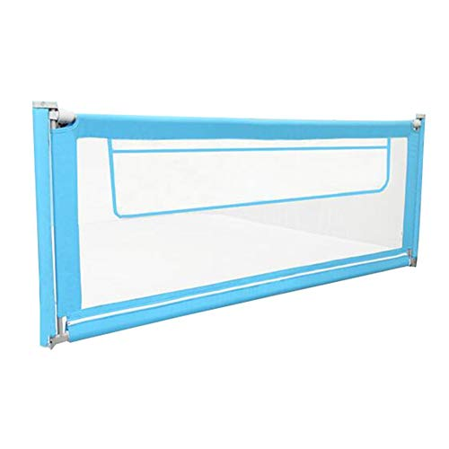 ZHAOHUI-barrière de lit Clôture De Lit pour Enfants Lit De Bébé Anti-Out Splicable Ascenseur Vertical Grande Poche Réglable en Hauteur Facile À Installer, 4 Tailles (Color : Blue, Size : 150cm)