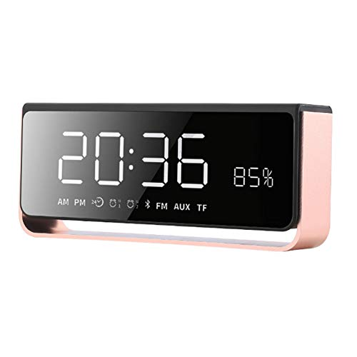 YYZLG Klok Bluetooth Speaker Private Mode Draagbare Mobiele Telefoon Alarm Subwoofer Led Creatieve Tafellamp Smart Audio, size, roze