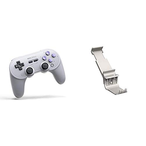 8Bitdo SN30 Pro+ Wireless Bluetooth Gamepad for Nintendo SwitchWindowsmacOSAndroidRaspberry Pi (SN Edition) [ ] & 8Bitdo Smartphone Clip For Sn30 Pro+ Sn and G Edition [