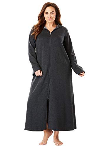 Dreams & Co. Women's Plus Size Hooded Fleece Robe - 1X, Heather Charcoal