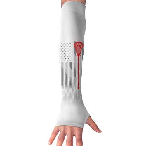 Vintage Lacrosse Stick American Flag Langarm Handschuh Sonnenschutz Arm Sleeve mit Daumenlöchern