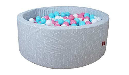 KNORRTOYS.COM- Beautissu Geo Cube-Piscina (300 Bolas), Color Rosa, Crema y Azul Claro (68169)