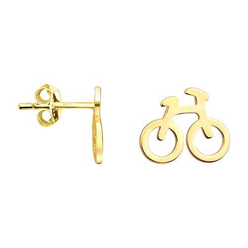 SOFIA MILANI - Damen Ohrringe 925 Silber - vergoldet/golden - Fahrrad Ohrstecker - 21018