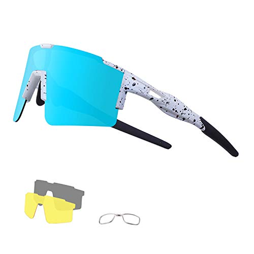 DUDUKING Gafas de Ciclismo Polarizadas Gafas de Sol Deportivas con Montura Gafas de Bicicleta Para Hombres Mujeres con 3 Lentes Intercambiables Anti-UV400