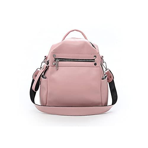 MTnoble Mochila femenina, PU Mochilas de cuero de la bolsa para el hombro para Distaff, Bolsa de Hobo Retro Subsubida (Color : Pink)
