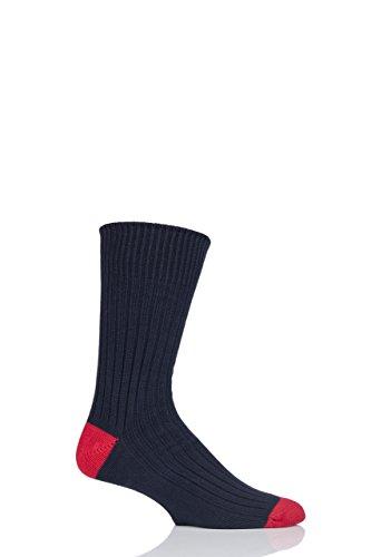 Herren 1 Paar SockShop der London Fashion Rib Socken aus Baumwolle mit farblich Heel und Toe In 10 Farben - 9-11 Mens - Marine