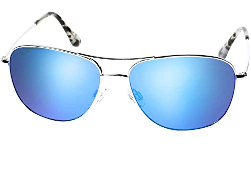 Maui Jim unisex-adult Cliff House Sonnenbrille w/Polarisiert Blue Hawaii Objektiv MJ247-17 Silber groß