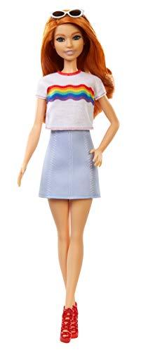 Boneca Barbie Fashionista - 122 Cabelo Vermelho com T-shirt com Arco-Íris