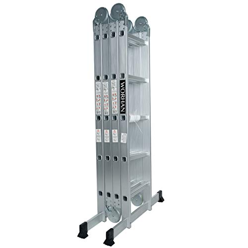 WORHAN® 5.7m Escalera Multiuso Multifuncional Plegable 570cm Tijera Bisagra Grande Aluminio con 2 Estabilizadores Nueva Generación Calidad Alta KS5.7