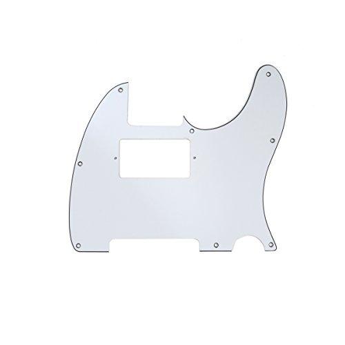 Musiclily 8 Löcher Tele Pickguard Humbucker Gitarren Schlagbrett für Fender USA/Mexican Standard Telecaster Modern Style,3 lagig Weiß