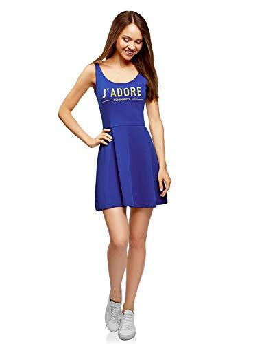 oodji Ultra Mujer Vestido con Tirantes y Parte Inferior Acampanada, Azul, ES 38 / S