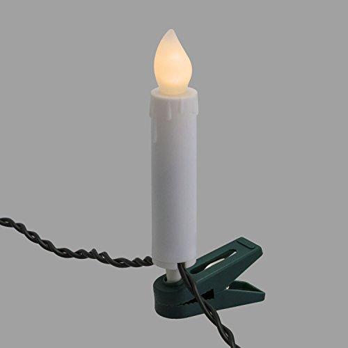 LuminalPark Lichterkette 11,4 m, mit 20 Kerzen für den Weihnachtsbaum mit Clips, LED warmweiß, Effekt flackernde Flamme, Kabel grün, 24 V, für draußen.