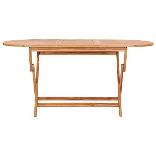 Tidyard Folding Garden Table | Terrace Bistro Dining Table | Outdoor Backyard Patio Furniture | 160x80x75 cm Solid Teak Wood