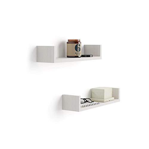 Mobili Fiver, Par de estantes en U, Modelo Iacopo, de MDF, Color Blanco Ceniza, 50 x 12 x 9 cm